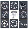 Set of white lines icons sports balls on a gray