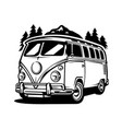 silhouette vintage van bus isolated vector image vector image