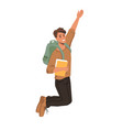 smiling guy in sweater with book jumps fist up vector image vector image