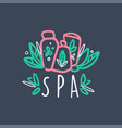 spa colorful hand drawn logo emblem for wellness vector image vector image