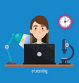 student using laptop electronic education vector image vector image