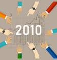 team work together set target growth for 2010 vector image