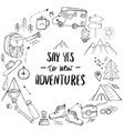 template with elements related to hiking camping vector image