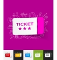 ticket paper sticker with hand drawn elements vector image