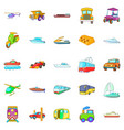 transportation of people icons set cartoon style vector image vector image