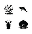 underwater creature glyph icons vector image vector image