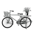 vintage bicycle and flower pot hand drawing clip vector image vector image