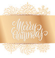 wide golden bow with merry christmas lettering vector image