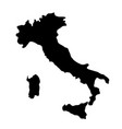 black silhouette country borders map of italy on vector image