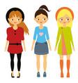 kids fashion beautiful cartoon girls in vector image