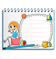 A notebook and a pencil with an image of a girl vector image vector image