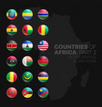 african countries flags 3d glossy icons set vector image vector image