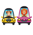 Animals in the car Monkey and Lion vector image vector image