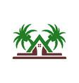 beach villa house logo design vector image vector image