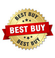 best buy 3d gold badge with red ribbon vector image