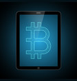 bitcoin with tablet computer vector image vector image