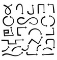 black hand drawn arrows set vector image