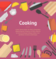 cartoon cookware banner card vector image vector image