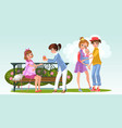cartoon woman with lesbian lover in park vector image