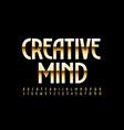 chic sign creative mind gold elegant alphabet vector image