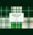 emerald green plaid set vector image vector image