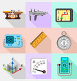 engineering tools icons set flat style vector image