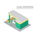 flat 3d isometric gas station and city map vector image