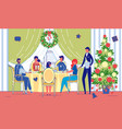 friends celebrate christmas holiday in restaurant vector image vector image