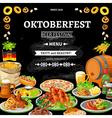 German Oktoberfest Chalkboard Menu Flat Poster vector image