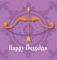 happy dussehra festival india bow arrow purple vector image vector image