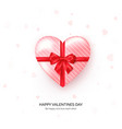 heart shaped gift box with red silk bow vector image vector image