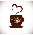 love coffee aroma heart vector image