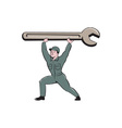 Mechanic Lifting Spanner Wrench Cartoon vector image vector image