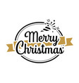 merry christmas typography label with symbols vector image vector image
