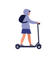 modern guy riding electric kick scooter trendy vector image vector image