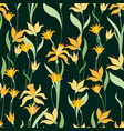 pattern of the decorative daffodils vector image vector image