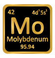 periodic table element molybdenum icon vector image vector image