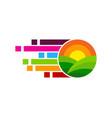 pixel farm logo icon design vector image