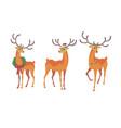 reindeer christmas icon moving deer vector image