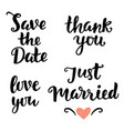 save date love you just married thank you vector image vector image