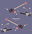 seamless pattern and label for garden tools store vector image vector image