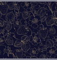 seamless pattern of golden strawberry on dark vector image vector image