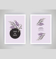 set card with flower lavender leaves wedding vector image vector image