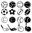 Set Of Black And White Sports Balls icons vector image