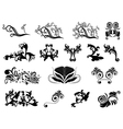 Set of black silhouettes of floral elements over vector image vector image