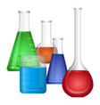 set of chemical flasks with colorful fluids vector image