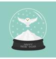 Snowy white owl Flying bird Big wings Yellow eyes vector image vector image