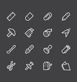 stationery white icon set on black background vector image