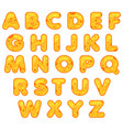 stylized cute alphabet cartoon cheese letters to vector image