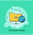 symbol of yellow folder and globe concept vector image vector image